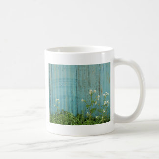 wild flowers nature blue paint fence texture coffee mug