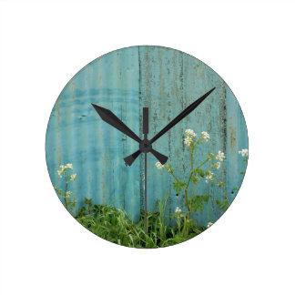 wild flowers nature blue paint fence texture round clock