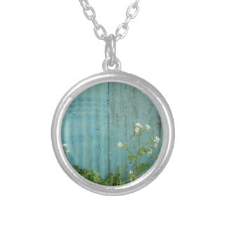 wild flowers nature blue paint fence texture silver plated necklace