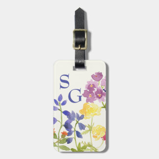 Wild Flowers Personalised Colourful Luggage Tag