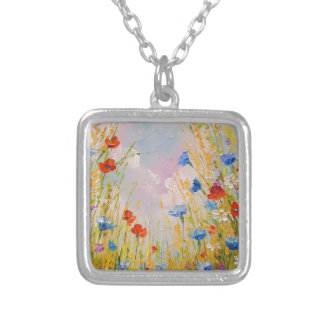 Wild flowers silver plated necklace