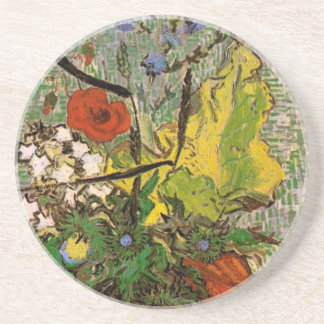 Wild Flowers, Thistles in Vase, Vincent van Gogh Beverage Coaster