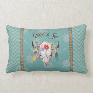 Wild & Free Boho Lumbar Pillow (Faded Turquoise)