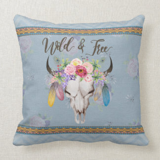 Wild & Free Boho Pillow (Faded Blue)