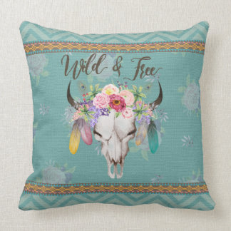 Wild & Free Boho Pillow (Faded Turquoise)