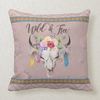 Wild & Free Boho Pillow (Vintage Mauve)