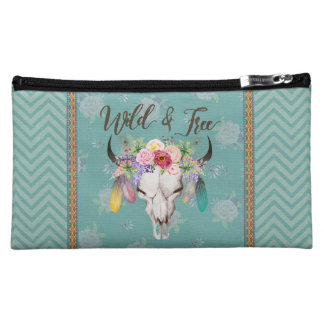 Wild & Free Cosmetic Bag (Faded Turquoise)