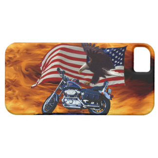 Wild & Free - Patriotic Eagle, Motorbike & US Flag Case For The iPhone 5