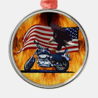 Wild & Free - Patriotic Eagle, Motorbike & US Flag Silver-Colored Round Decoration