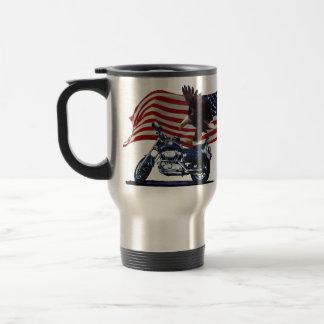 Wild & Free - Patriotic Eagle, Motorbike & US Flag Travel Mug