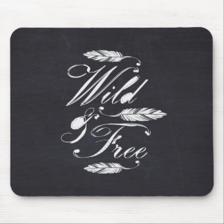 Wild & Free/White-Black Mouse Pad