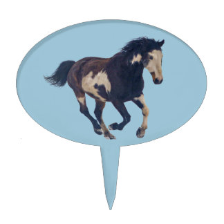 Wild Galloping Pinto American Paint Horse Cake Pick