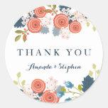 Wild Garden Wedding Personalised Thank You Round Sticker