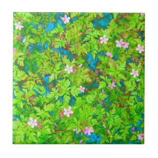 wild geranium flowers tile
