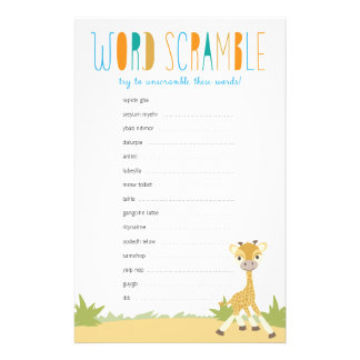 Wild Giraffe Baby Word Scramble Game - Blue Personalised Stationery