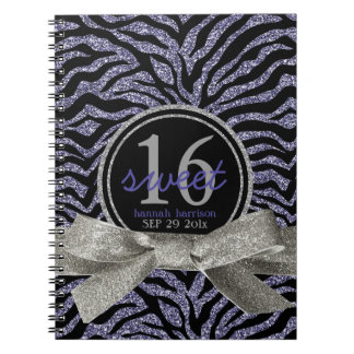 Wild Girly Glitter Look Purple Zebra Sweet 16 Spiral Note Book