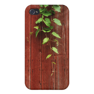 wild grapevine on red barn wood planks iPhone 4 cover