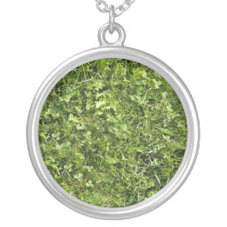 Wild grass and clover texture round pendant necklace