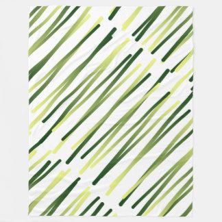 Wild Grasses Olive Khaki White Contemporary Design Fleece Blanket