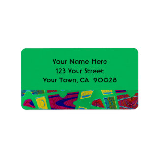 wild green abstract address label