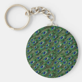 wild green peacock feathers basic round button key ring