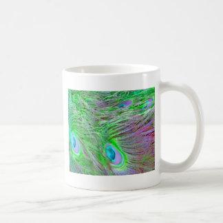 Wild Green Peacock Feathers Coffee Mug