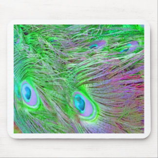 Wild Green Peacock Feathers Mouse Pad