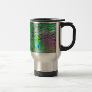 Wild Green Peacock Feathers Travel Mug