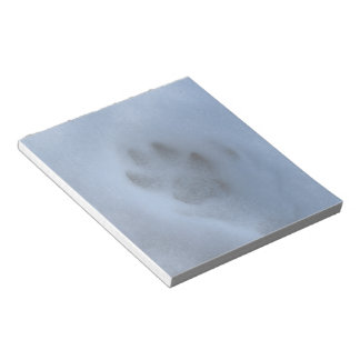 Wild Grey Wolf Paw Print in Winter Snow Notepad