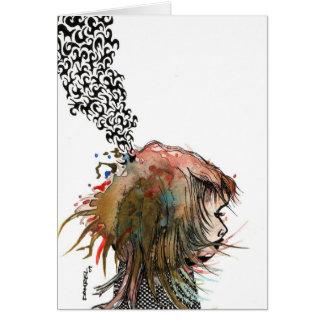 wild hair boring girl greeting card