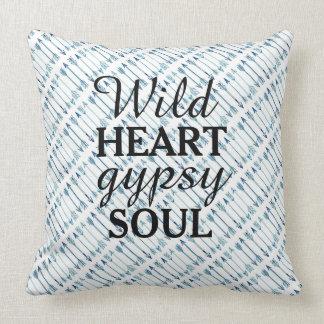 Wild Heart Gypsy Soul Blue Arrow Pillow