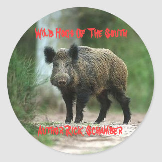 Wild Hogs Of The South, Author R... Round Sticker