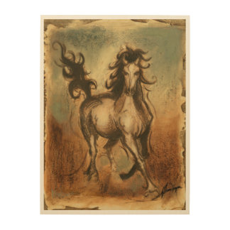 Wild Horse and Warm Colors Wood Wall Decor