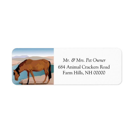 Wild Horse Drinking Return Address Label Stickers