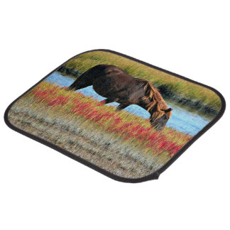 Wild Horse Eating In The Field Car Mat