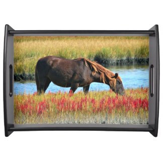 Wild Horse Eating In The Field Serving Tray
