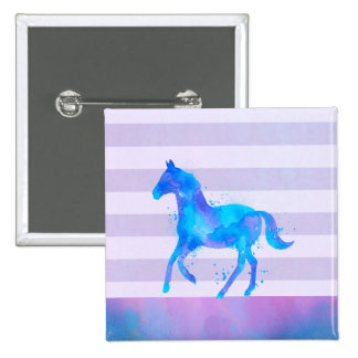 Wild Horse in Blue and Purple Watercolor 15 Cm Square Badge