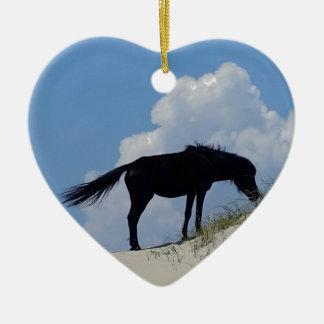 Wild Horse in OBX Ceramic Heart Decoration