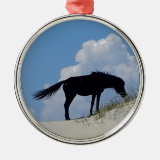 Wild Horse in OBX Silver-Colored Round Decoration