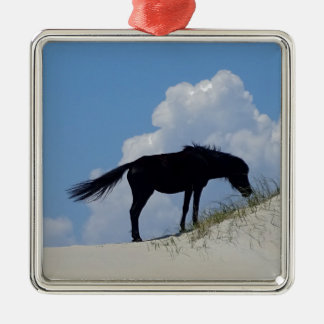 Wild Horse in OBX Silver-Colored Square Decoration