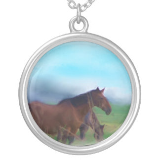 Wild horse painting round pendant necklace