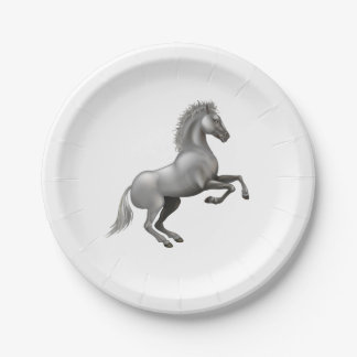 Wild horse rearing up paper plate