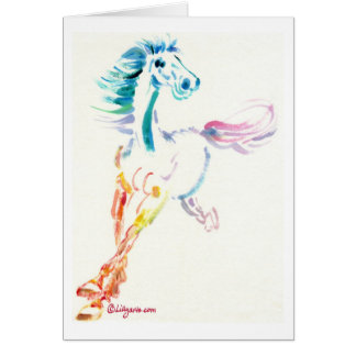 Wild Horse Spirit - Romping Horse Watercolor Card