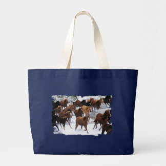 Wild Horses Driven Large Tote Bag