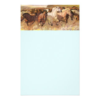 Wild Horses Horse Letterhead Stationery Light Blue