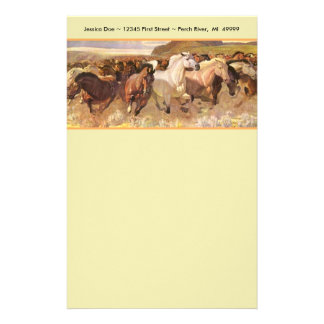 Wild Horses Horse Mustang Stationery Note paper