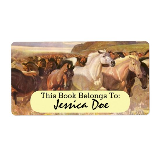Wild Horses Horse Run Art Personal Bookplate Label Shipping Label