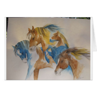 Wild Horses In Pastels Card