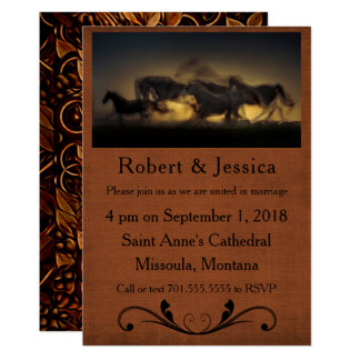 Wild Horses Running & Brown Background Western Card