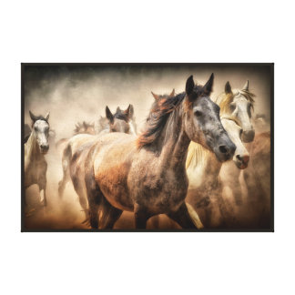 WILD HORSES RUNNING. MUSTANG HORSE STAMPEED CANVAS PRINT